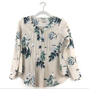 Cream LOFT Petite Floral Button Down Shirt